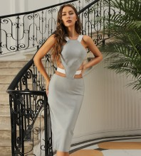 Gray Backless Hollow out Midi Sleeveless Strappy Bandage Dress HB7431-Gray