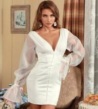 White Tie Mesh Mini Long Sleeve V Neck Bodycon Dress HB7433-White