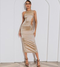 Brown Slit Cut Out Midi Sleeveless Round Neck Bodycon Dress HB7437-Brown