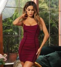 Red Backless Wrinkled Mini Sleeveless Strapless Bandage Dress HB7438-Red