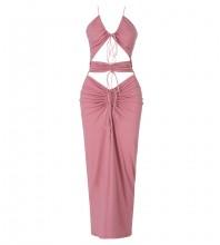 Pink Tie Backless Midi Sleeveless Halter Bodycon Dress HB7439-Pink