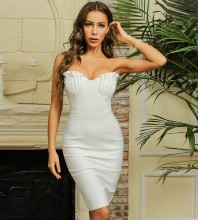 White Backless Plain Midi Sleeveless Strapless Bandage Dress HB7444-White