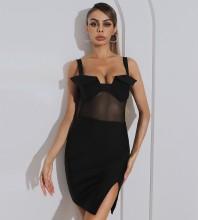 Black Slit Mesh Mini Sleeveless Strappy Bandage Dress HB7455-Black