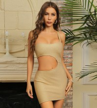 Apricot Asymmetrical Cut Out Mini Sleeveless One Shoulder Bandage Dress HB7460-Apricot