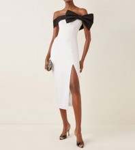 White Slit Bowknot Midi Short Sleeve Off Shoulder Bandage Dress HB7461-White