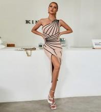 Apricot Slit Striped Midi Sleeveless One Shoulder Bandage Dress HB7468-Apricot