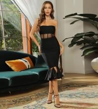 Black Mesh Tassels Midi Sleeveless Strapless Bandage Dress HB7469-Black