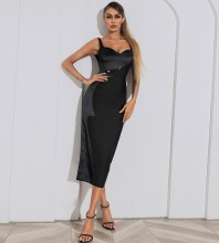 Black Metal Ornamental Buckle Splicing Midi Sleeveless Strappy Bandage Dress HB7475-Black