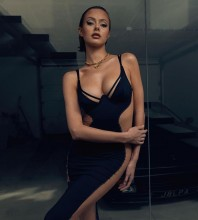 Black Splicing Mesh Mini Sleeveless Strappy Bandage Dress HB7478-Black