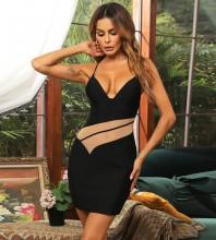 Black Backless Mesh Mini Sleeveless Strappy Bandage Dress HB7479-Black