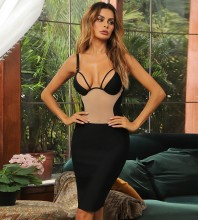 Black Backless Splicing Midi Sleeveless Strappy Bandage Dress HB7480-Black