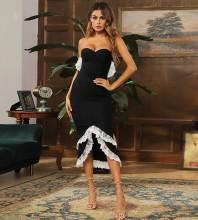 Black Lace Frill Midi Sleeveless Strapless Bandage Dress HB7482-Black