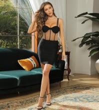 Black Mesh Striped Mini Sleeveless Strappy Bandage Dress HB7484-Black