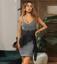 Gray Backless Lace Mini Sleeveless Strappy Bandage Dress HB7486-Gray