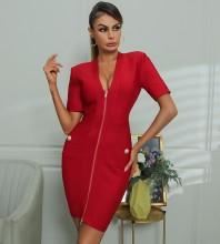 Red Zipper Striped Mini Short Sleeve V Neck Bandage Dress HB7488-Red