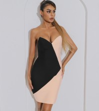 Black Pink Distinctive Splicing Mini Sleeveless Strapless Bandage Dress HB7490-Black-Pink