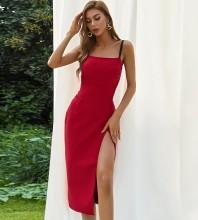 Red Slit Plain Midi Sleeveless Strappy Bandage Dress HB7498-Red