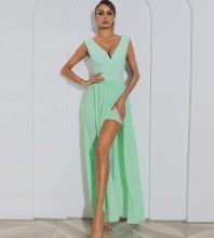 Green Distinctive Slit Maxi Sleeveless V Neck Bandage Dress HB7504-Green