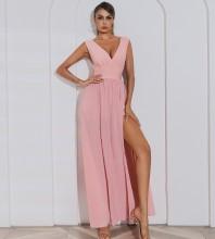 Pink Distinctive Slit Maxi Sleeveless V Neck Bandage Dress HB7504-Pink