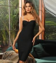 Black Slit Bubble Beads Midi Sleeveless Strappy Bandage Dress HB7509-Black
