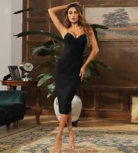Black Distinctive Cut Out Midi Sleeveless Strappy Bandage Dress HB7511-Black