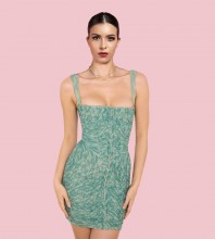 Green Patterned Wrinkled Mini Sleeveless Strappy Bodycon Dress HB7512-Green