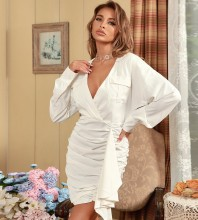 White Cut Out Wrinkled Mini Long Sleeve V Neck Bodycon Dress HB7516-White