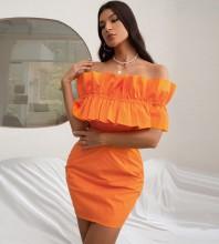 Orange Distinctive Frill Mini Short Sleeve Off Shoulder Bodycon Dress HB7518-Orange