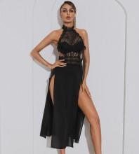Black Backless Lace Maxi Sleeveless High Neck Bodycon Dress HB7525-Black