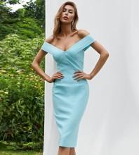 Blue Backless Plain Midi Short Sleeve Off Shoulder Bandage Dress HB7530-Blue