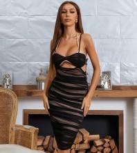 Black Wrinkled Cut Out Midi Sleeveless Strappy Bandage Dress HB7535-Black