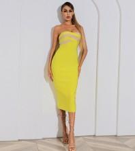 Yellow Backless Striped Midi Sleeveless Strapless Bandage Dress HB7537-Yellow