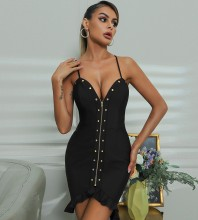 Black Metal Studded Zipper Mini Sleeveless Strappy Bandage Dress HB7538-Black
