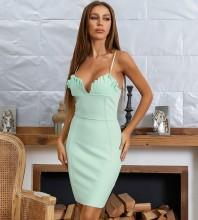 Light Green Backless Frill Mini Sleeveless Strappy Bandage Dress HB7542-Light-Green