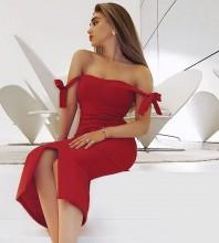 Red Slit Bowknot Midi Short Sleeve Off Shoulder Bandage Dress HB7547-Red