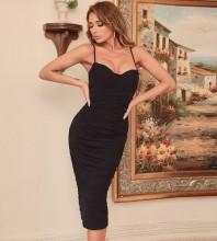 Black Backless Wrinkled Midi Sleeveless Strappy Bandage Dress HB7551-Black