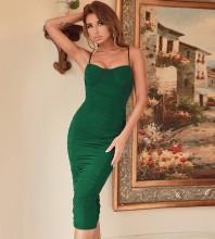 Green Backless Wrinkled Midi Sleeveless Strappy Bandage Dress HB7551-Green
