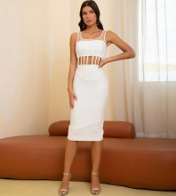White Hollow out Striped Midi Sleeveless Square Collar Bandage Dress HB7560-White
