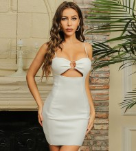 White Metal Studded Cut Out Mini Sleeveless Strappy Bandage Dress HB7563-White