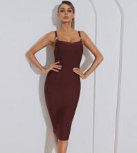 Maroon Backless Slit Midi Sleeveless Strappy Bandage Dress HB7567-Maroon