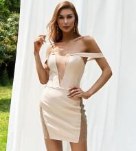 Apricot Distinctive Mesh Mini Short Sleeve Off Shoulder Bandage Dress HB7575-Apricot