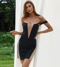 Black Distinctive Mesh Mini Short Sleeve Off Shoulder Bandage Dress HB7575-Black