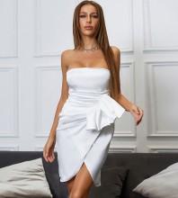 White Backless Frill Mini Sleeveless Strapless Bodycon Dress HB7580-White