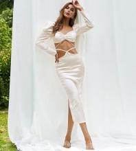 White Slit Exposed Waist Midi Long Sleeve Square Collar Bodycon Dress HB7584-White