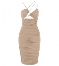 Apricot Backless Wrinkled Midi Sleeveless Strappy Bodycon Dress HB7586-Apricot