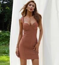 Copper Backless Plain Mini Sleeveless Strappy Bandage Dress HB7588-Copper