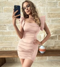 Pink Backless Wrinkled Mini Sleeveless Square Collar Bodycon Dress HB7603-Pink
