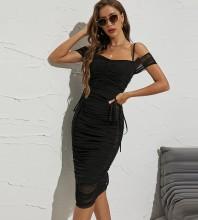 Black Mesh Wrinkled Midi Short Sleeve Strappy Bandage Dress HB7605-Black