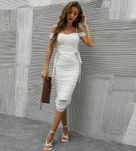 White Mesh Wrinkled Midi Short Sleeve Strappy Bandage Dress HB7605-White