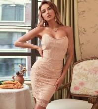 Pink Backless Lace Mini Sleeveless Strapless Bandage Dress HB7606-Pink